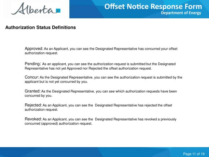 Authorization Status Definitions