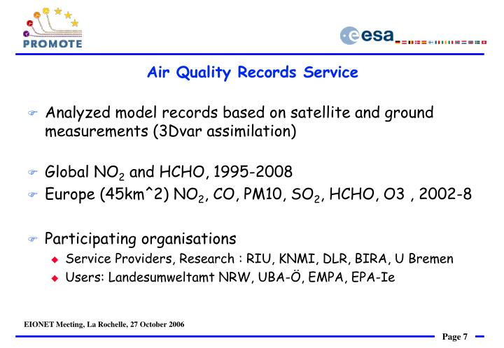 Air Quality Records Service