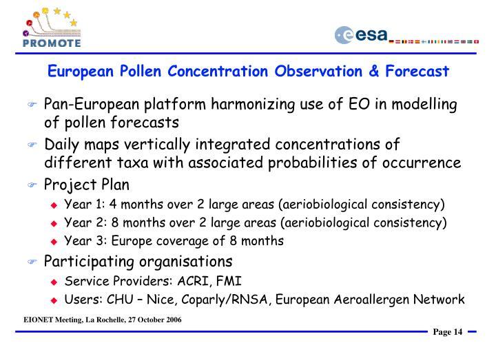 European Pollen Concentration Observation & Forecast