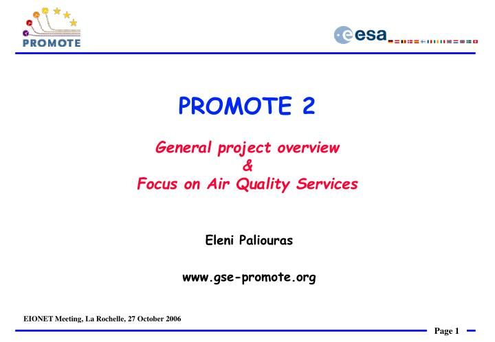 Promote 2 general project overview focus on air quality services