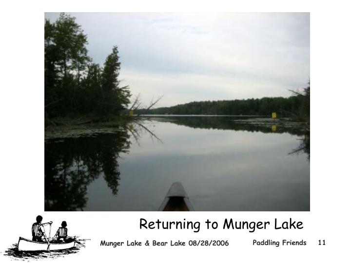 Returning to Munger Lake