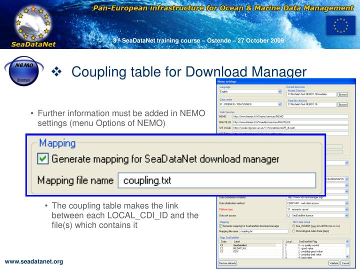 Coupling table for Download Manager