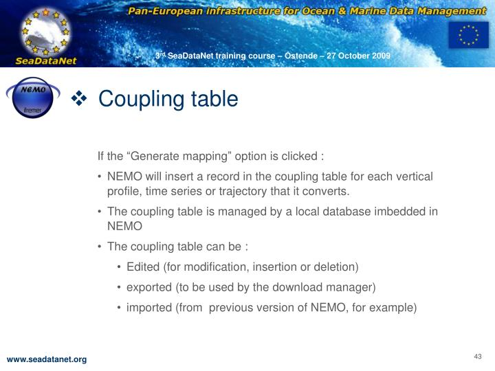Coupling table