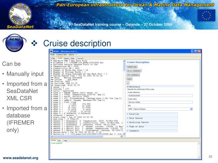 Cruise description