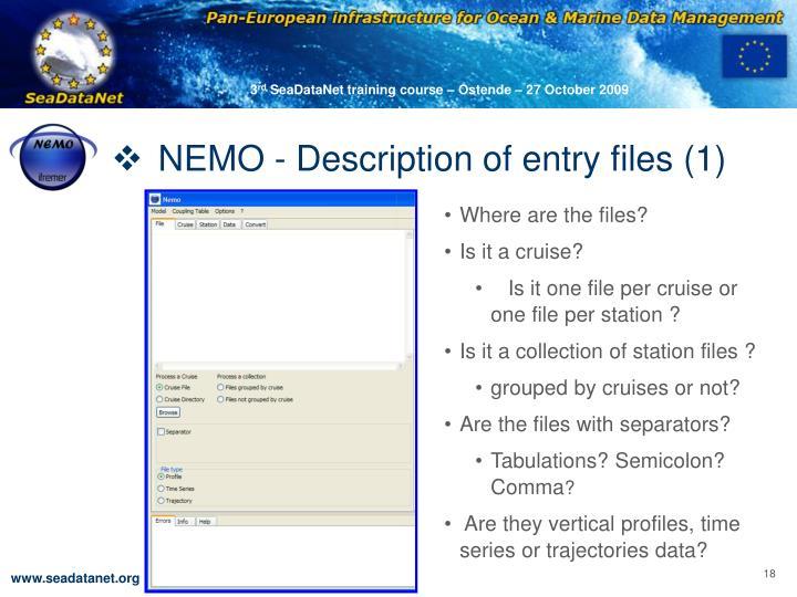 NEMO - Description of entry files (1)
