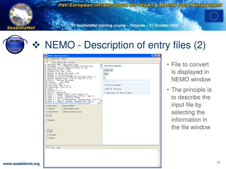 NEMO - Description of entry files (2)