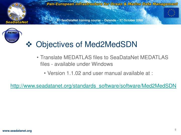 Objectives of Med2MedSDN