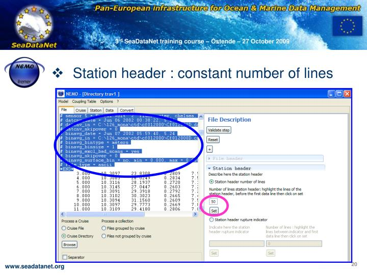 Station header : constant number of lines