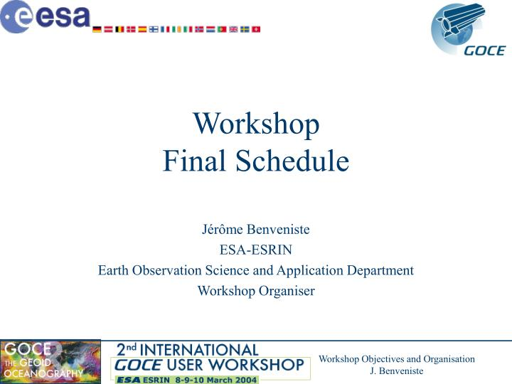 Workshop final schedule