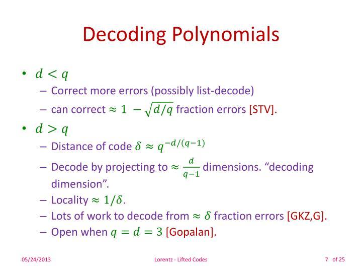 Decoding Polynomials