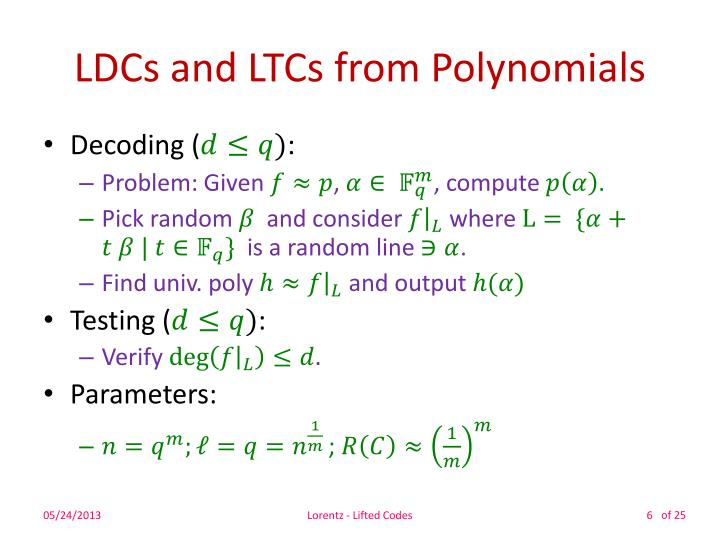 LDCs and LTCs from Polynomials