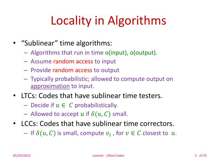Locality in Algorithms