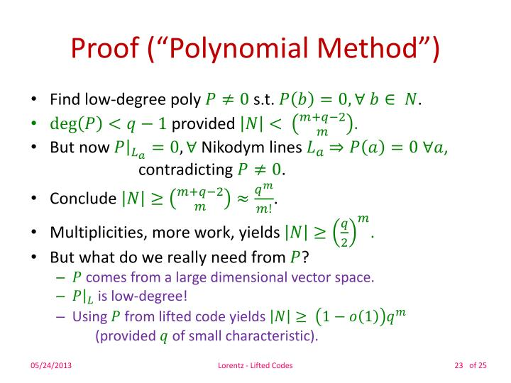 "Proof (""Polynomial Method"")"