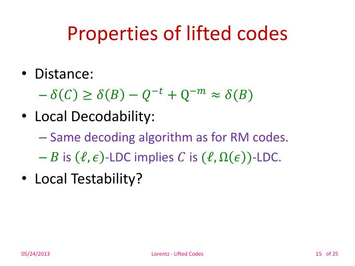 Properties of lifted codes
