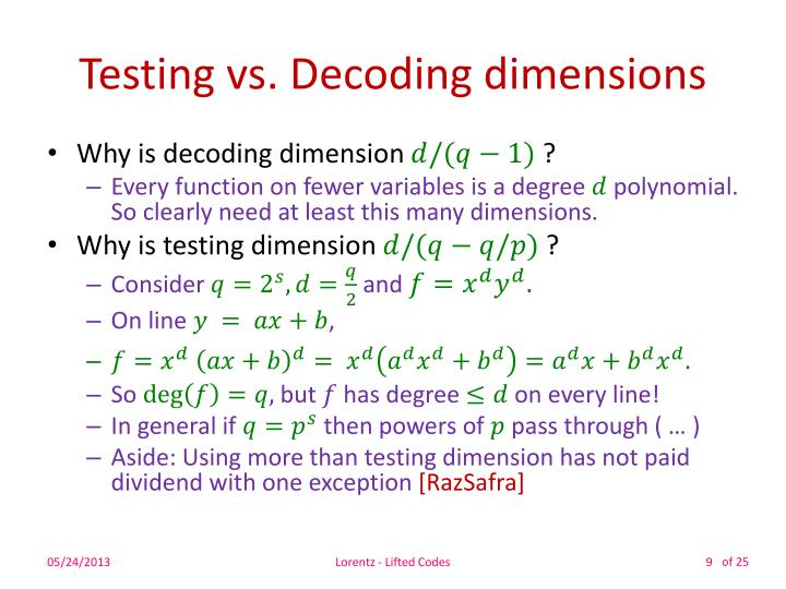 Testing vs. Decoding dimensions
