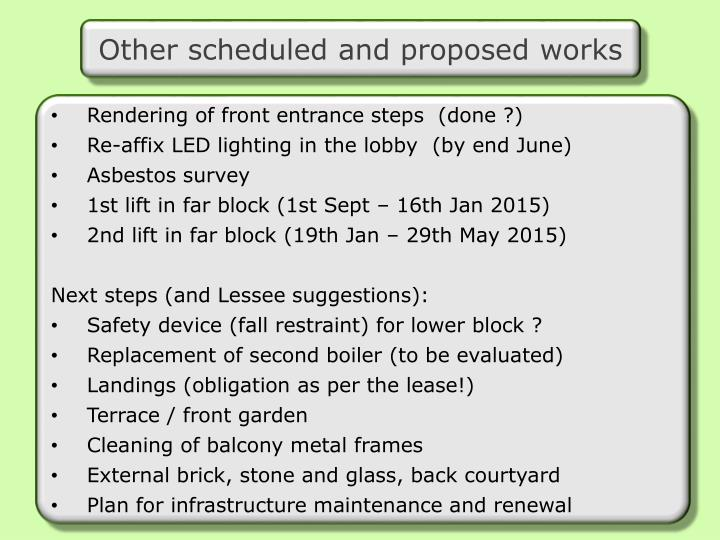 Other scheduled and proposed works