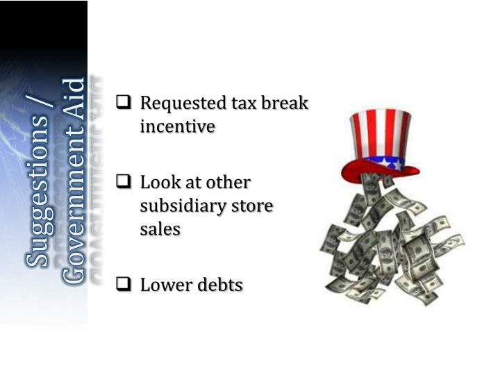 Requested tax break incentive