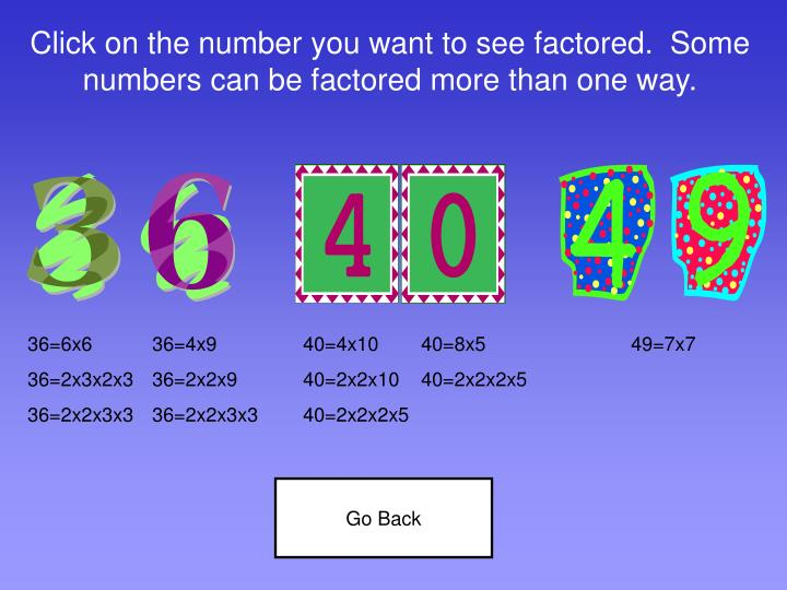 Click on the number you want to see factored.  Some numbers can be factored more than one way.