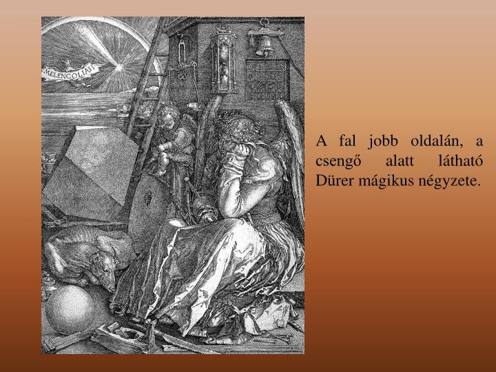 A fal jobb oldalán, a csengő alatt látható Dürer mágikus négyzete