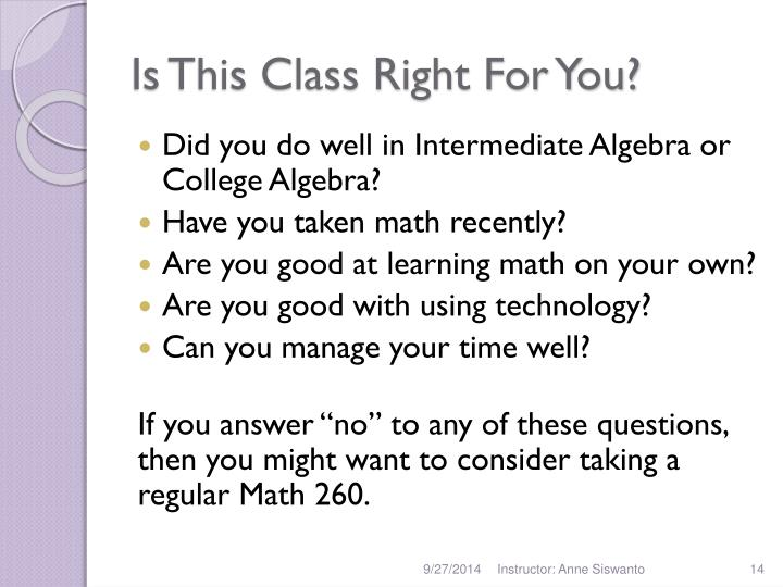 Is This Class Right For You?