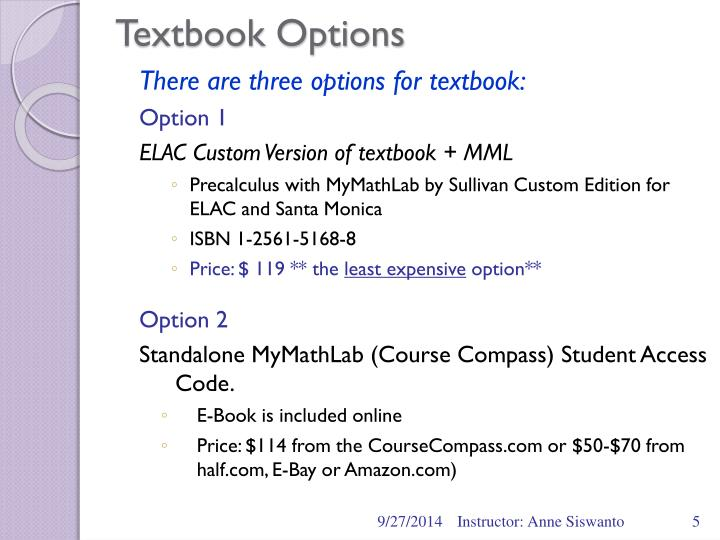 Textbook Options