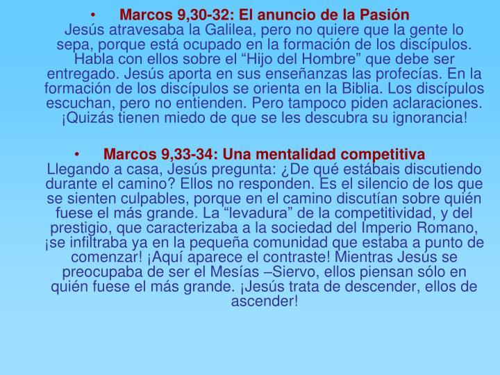 Marcos 9,30-32: El anuncio de la Pasión