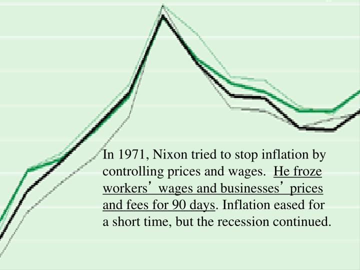 In 1971, Nixon tried to stop inflation by controlling prices and wages.