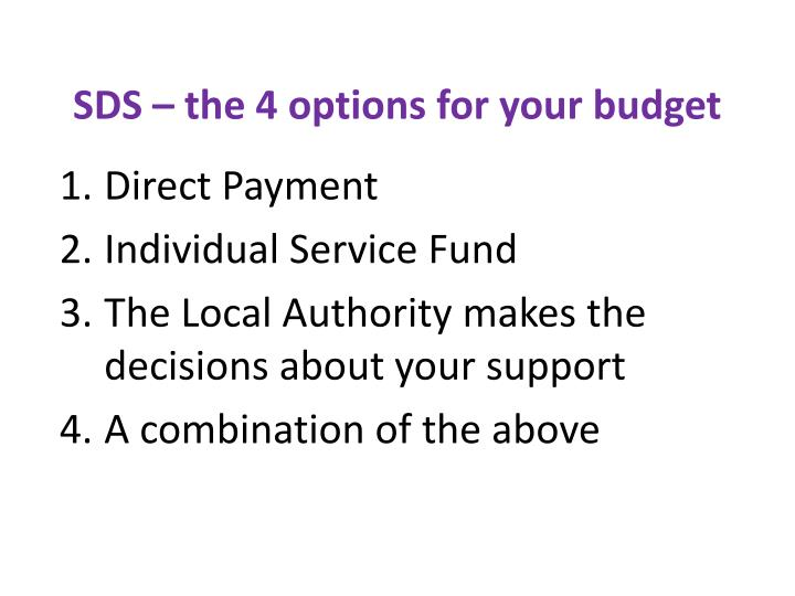 SDS – the 4 options for your budget