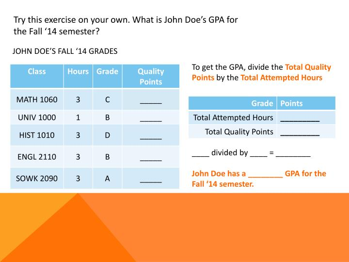 Try this exercise on your own. What is John Doe's GPA for the Fall '14 semester?