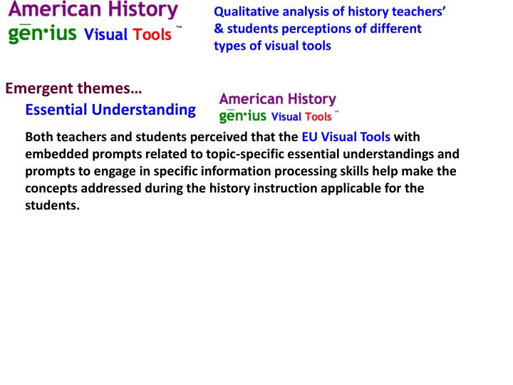 Qualitative analysis of history teachers' & students perceptions of different types of