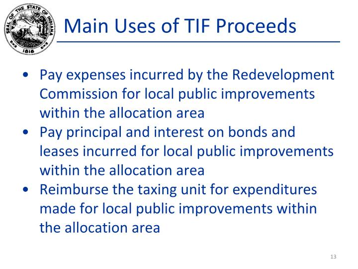 Main Uses of TIF Proceeds