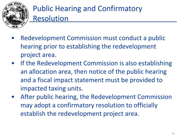 Public Hearing and Confirmatory Resolution