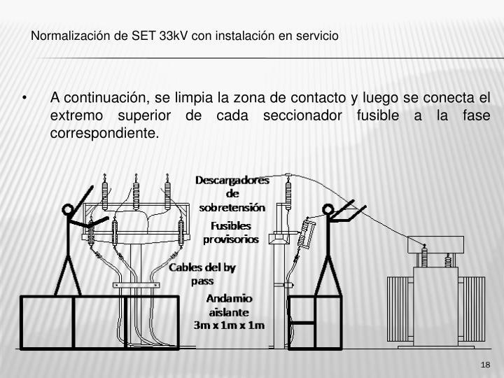 A continuación, se limpia la zona de contacto y luego se conecta el extremo superior de cada seccionador fusible a la fase correspondiente.