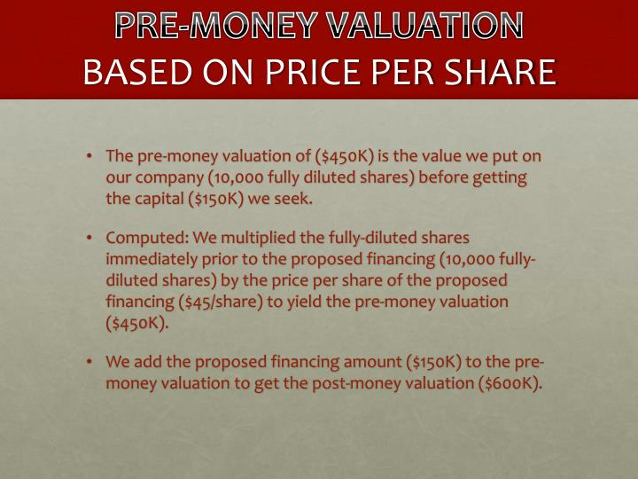 PRE-MONEY VALUATION