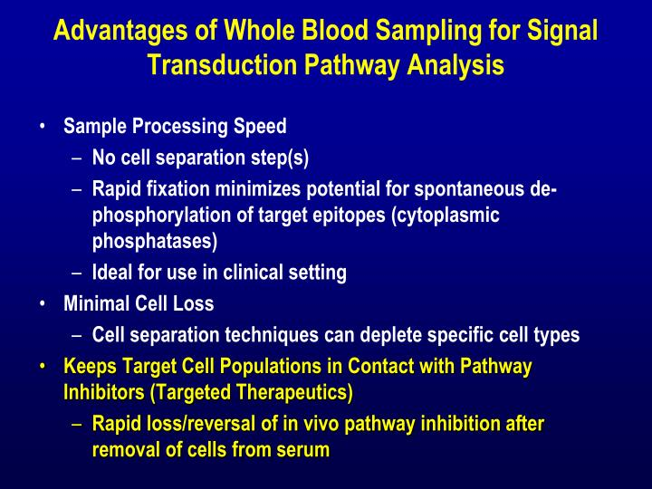 Advantages of Whole Blood Sampling for Signal Transduction Pathway Analysis