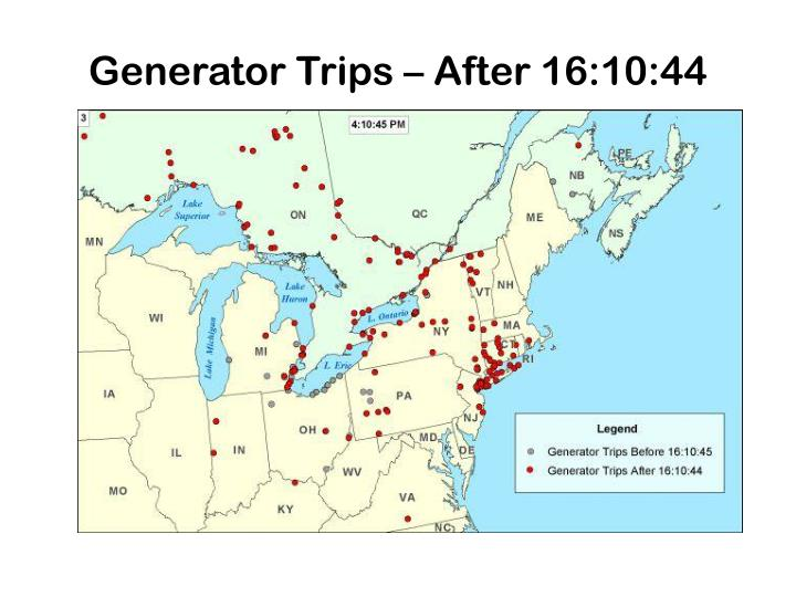 Generator Trips – After 16:10:44