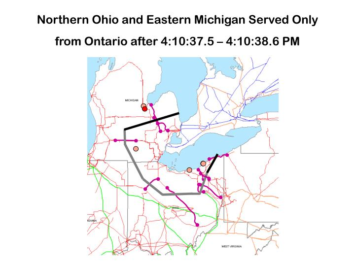 Northern Ohio and Eastern Michigan Served Only from Ontario after 4:10:37.5 – 4:10:38.6 PM
