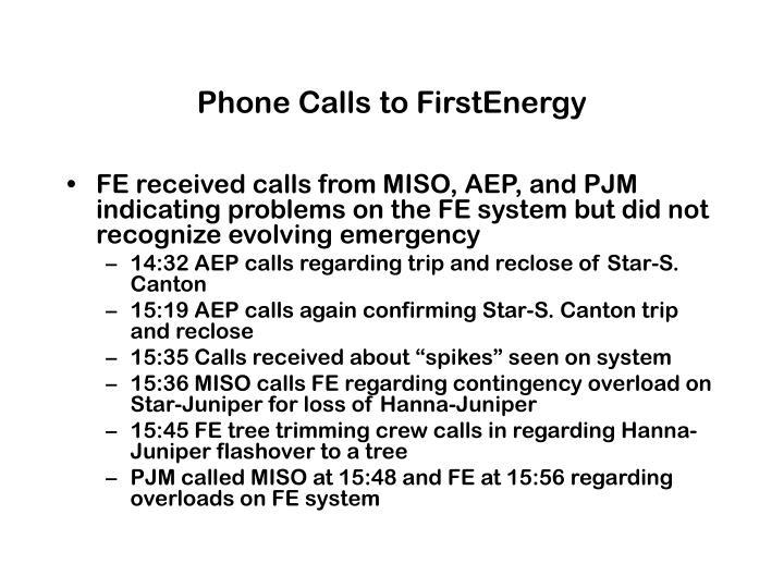 Phone Calls to FirstEnergy