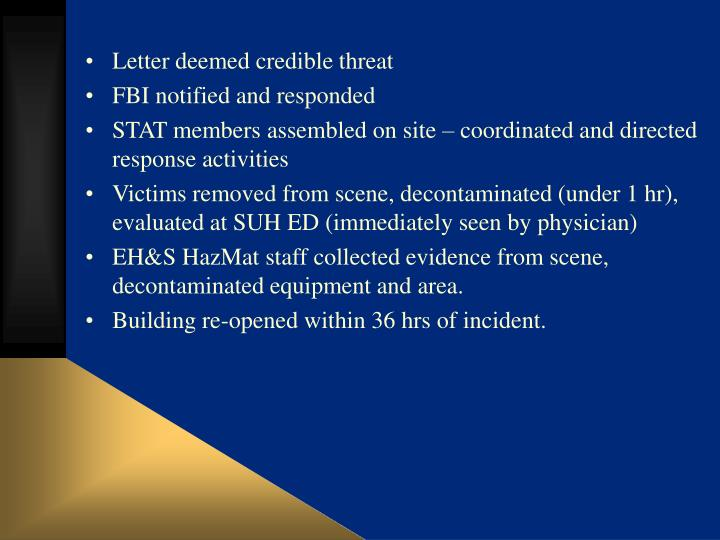 Letter deemed credible threat
