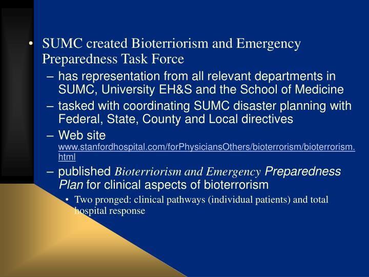 SUMC created Bioterriorism and Emergency Preparedness Task Force