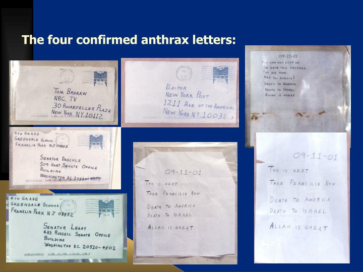 The four confirmed anthrax letters: