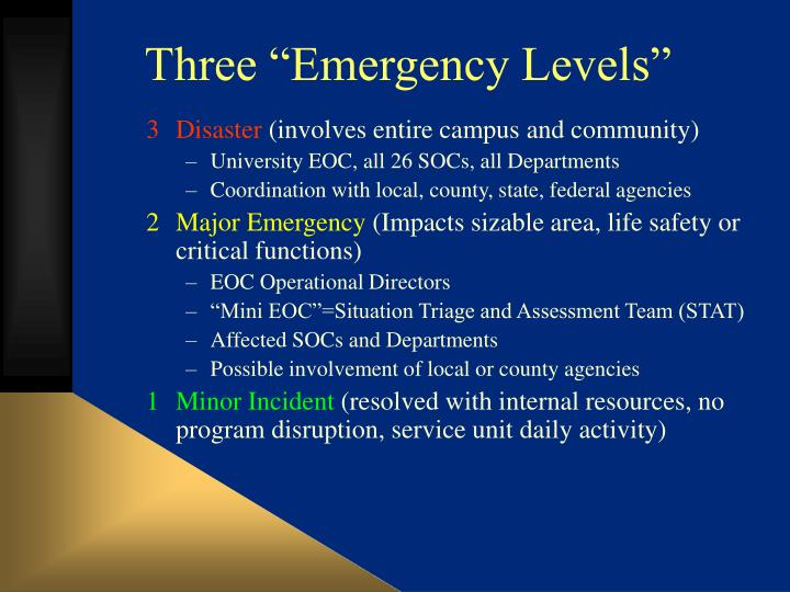 "Three ""Emergency Levels"""