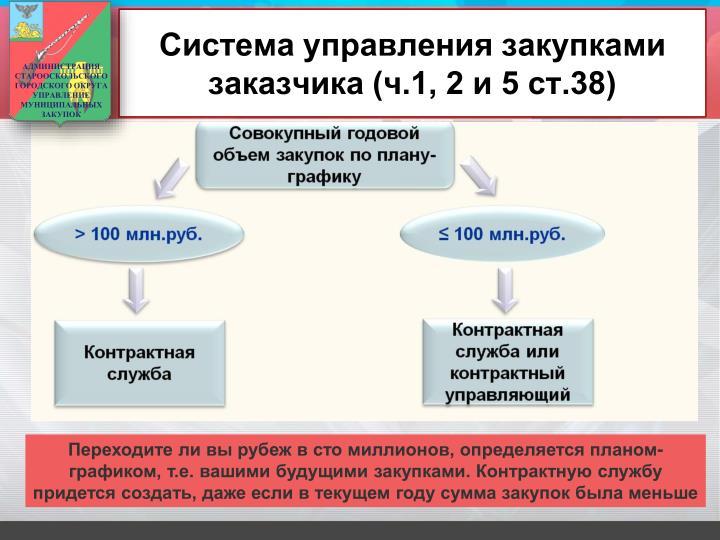Система управления закупками заказчика (ч.1, 2 и 5 ст.38)