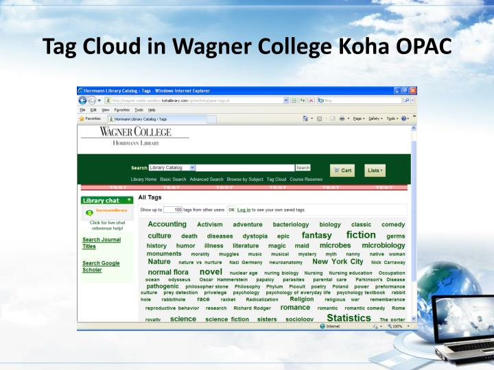 Tag Cloud in Wagner College Koha OPAC