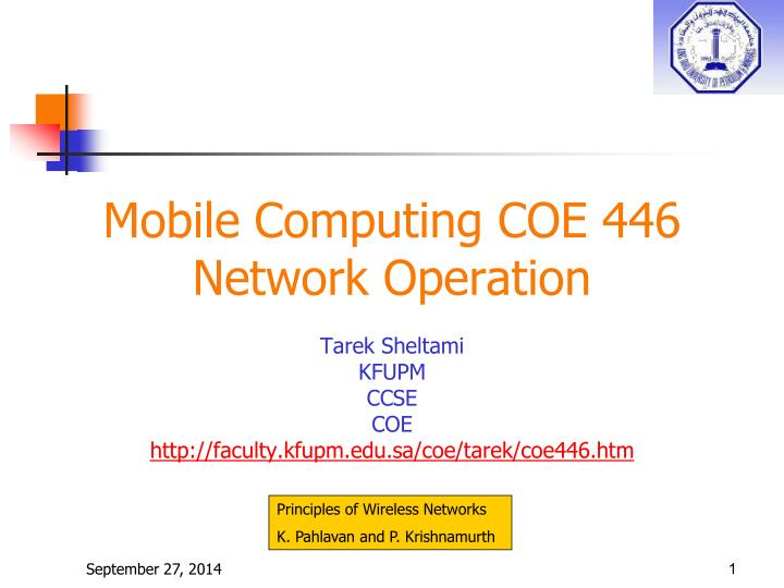 Mobile computing coe 446 network operation