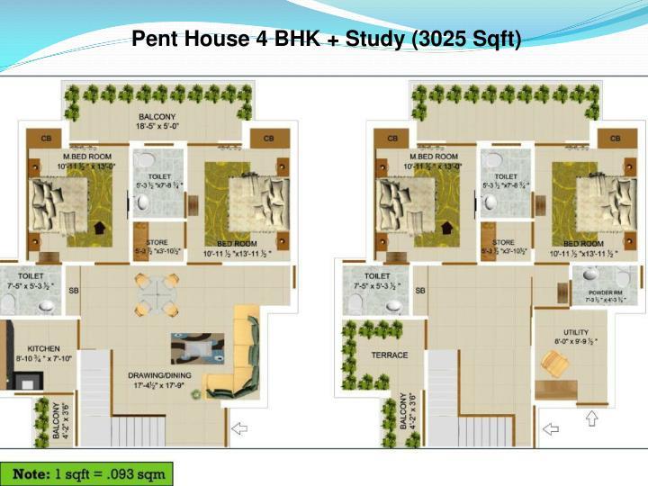 Pent House 4 BHK + Study (3025 Sqft)