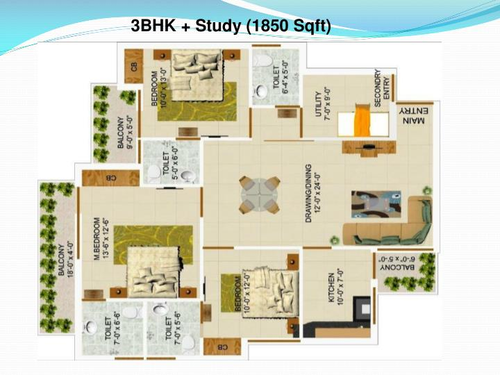 3BHK + Study (1850 Sqft)
