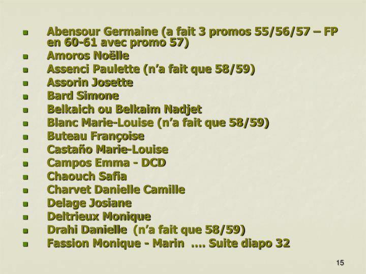 Abensour Germaine (a fait 3 promos 55/56/57 – FP en 60-61 avec promo 57)