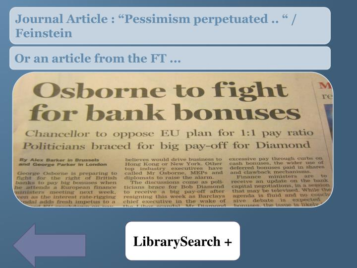 """Journal Article : """"Pessimism perpetuated .. """" / Feinstein"""