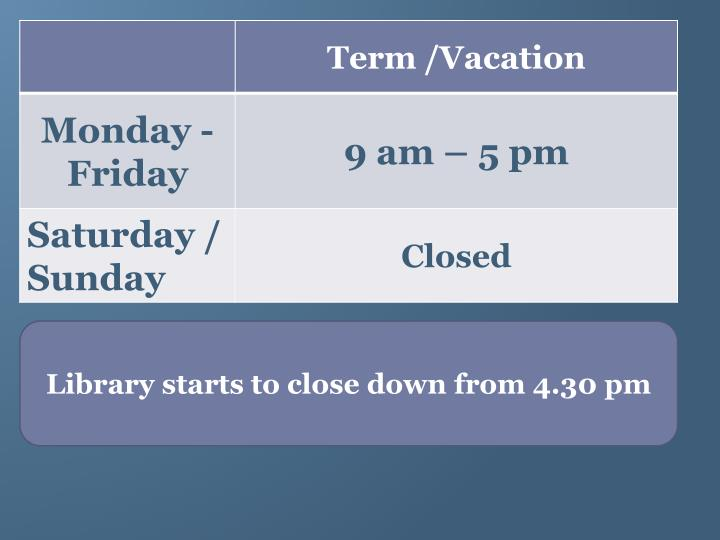 Library starts to close down from 4.30 pm